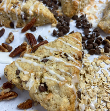 cowboy cookie scones with coconut, pecans, chocolate and oatmeal