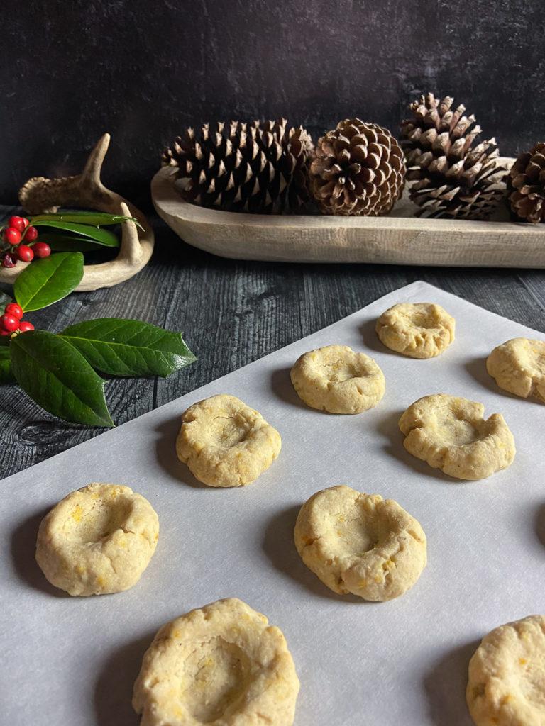 orange spice lingonberry thumbprint cookies