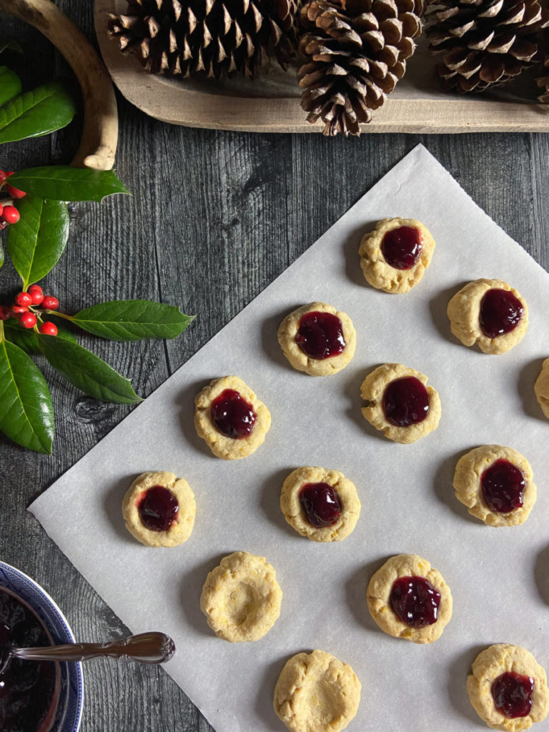 orange spice thumbprint cookies with lingonberry jam