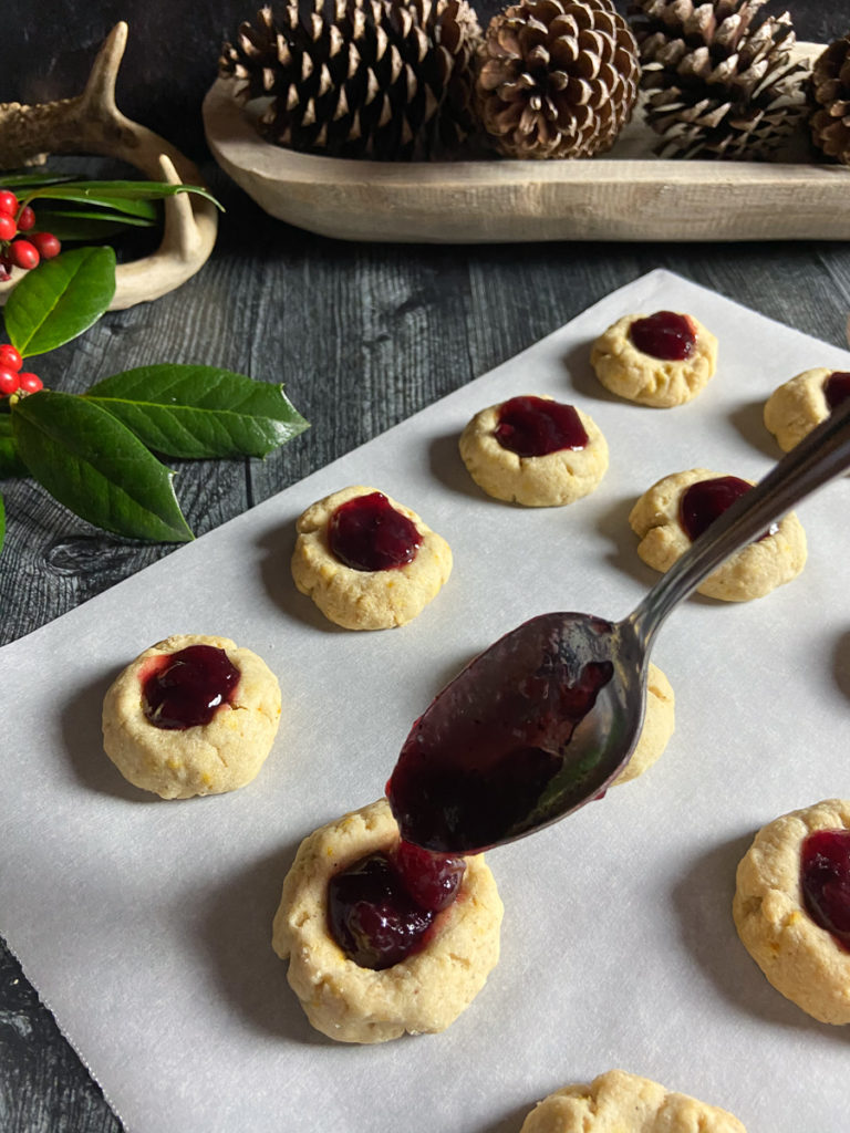 orange thumbprint cookies with lingonberry jam