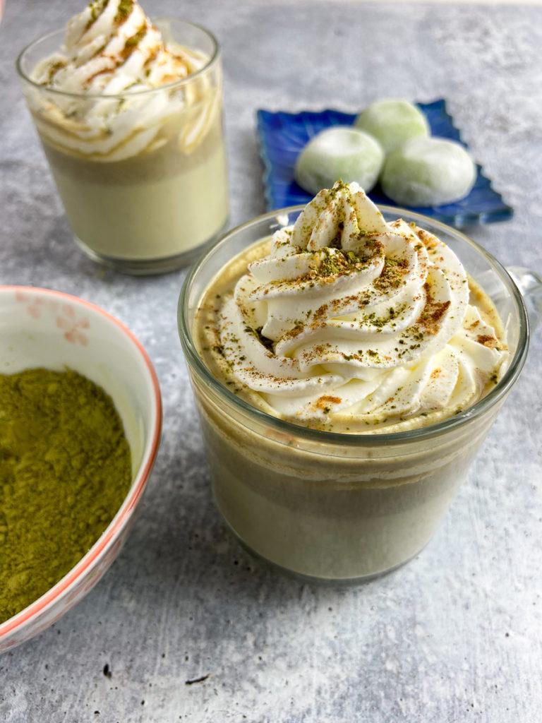 cinnamon matcha kinako white hot chocolate
