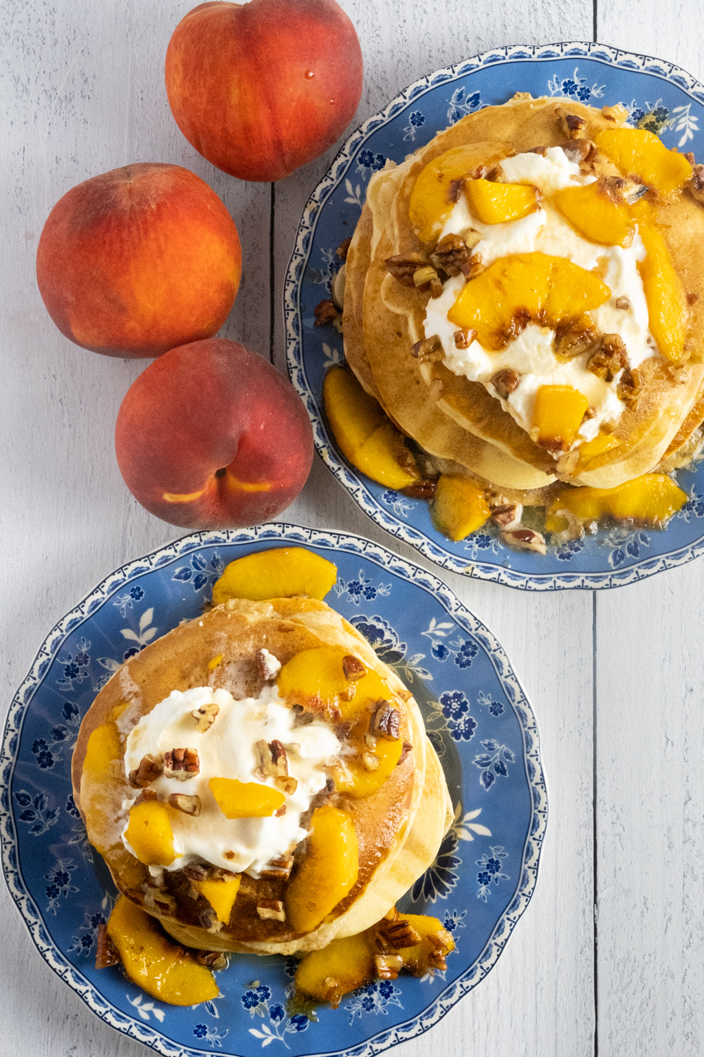 peach pancakes with bourbon pecan syrup