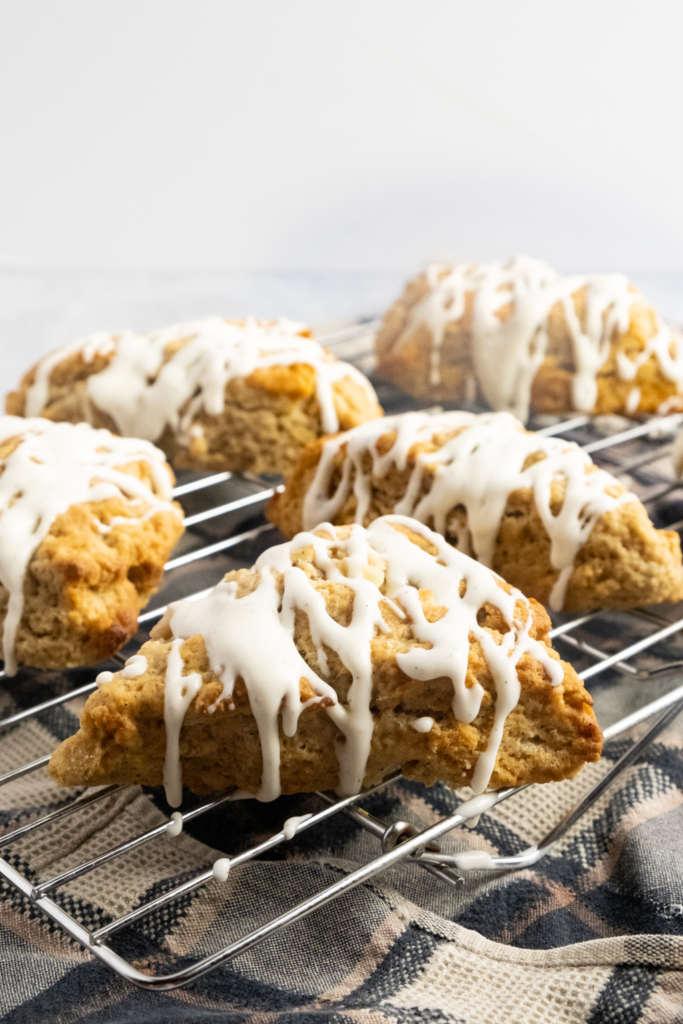 chai infused pear scones with vanilla bean glaze