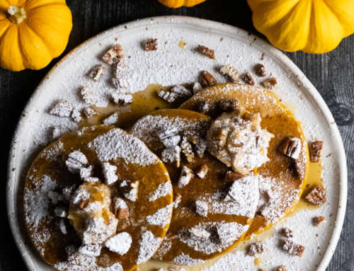 Pumpkin Pancakes with Maple Pumpkin Spice Whipped Butter