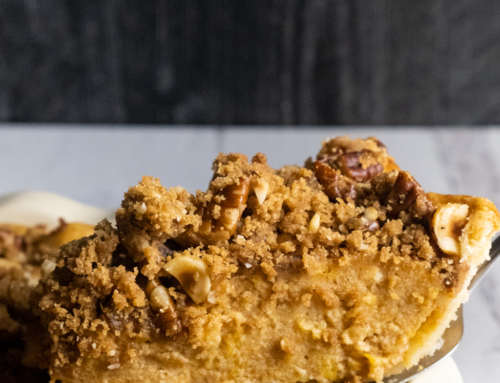 Sweet Potato Pie with Hazelnut Pecan Gingerbread Crumble