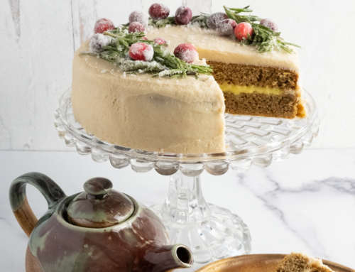 Chai Cake with Orange Curd and Cinnamon Frosting