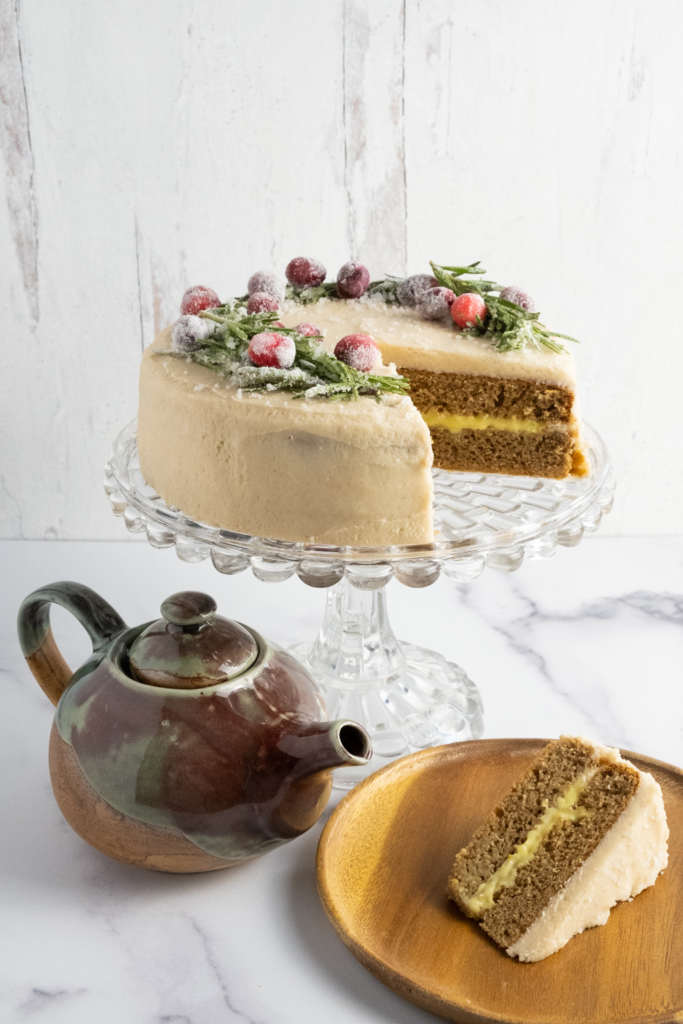 chai layer cake with orange curd and cinnamon buttercream frosting