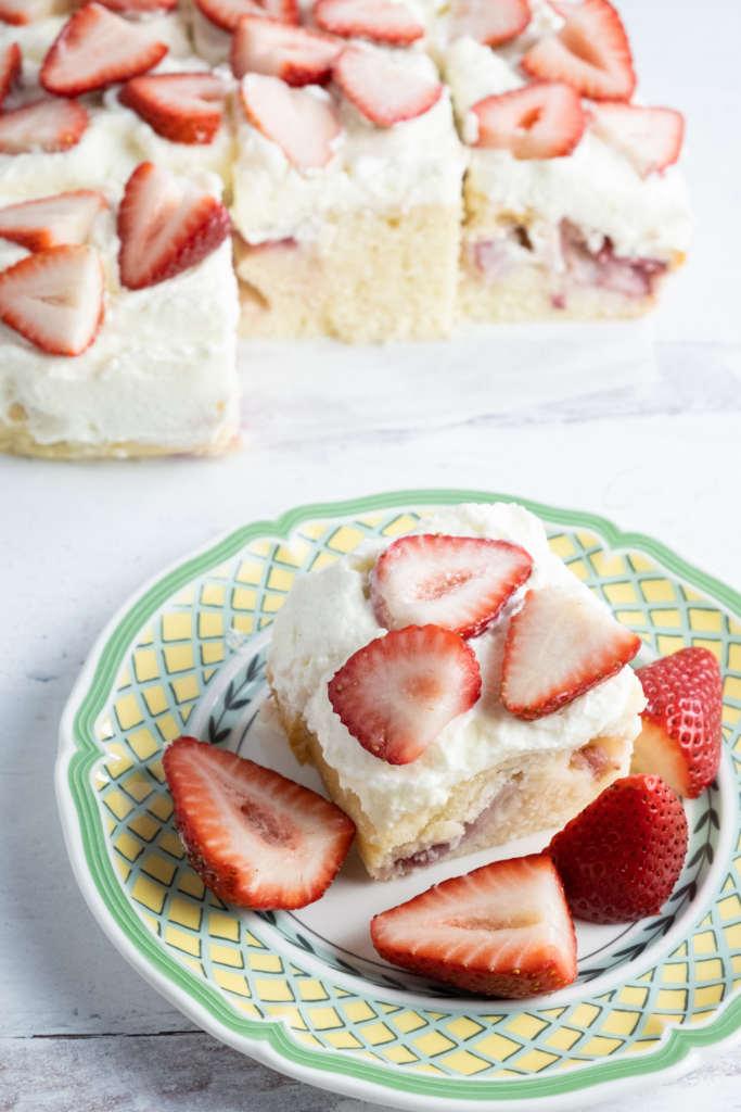 Strawberries and cream snack cake