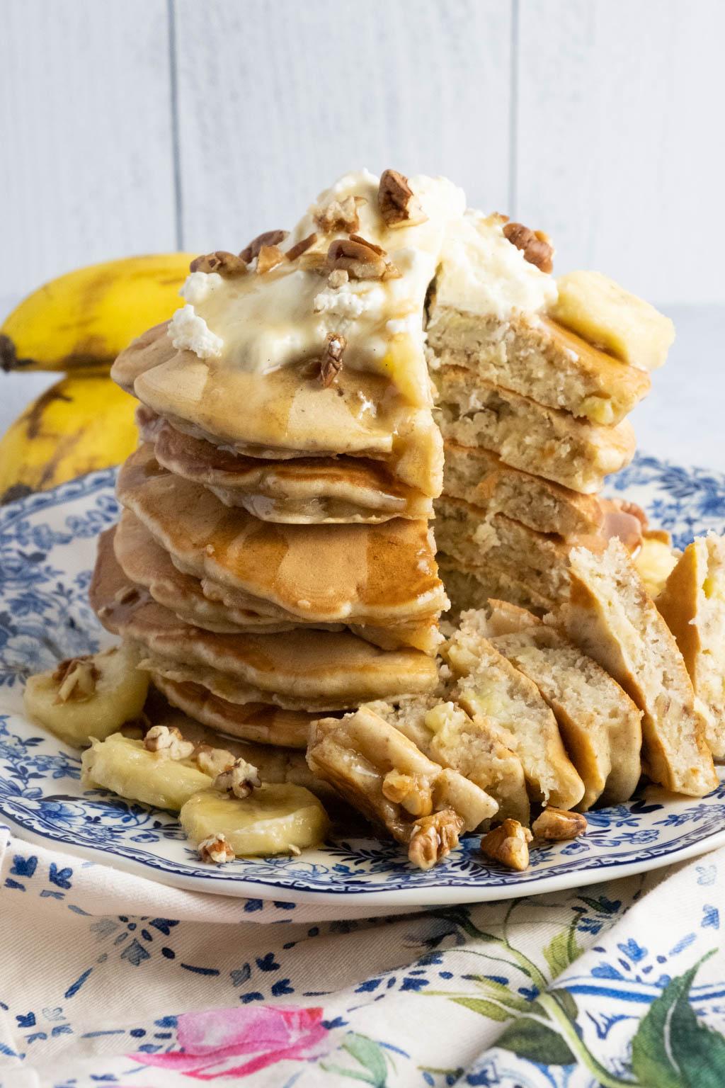 Hummingbird Pancakes with Whipped Cream Cheese